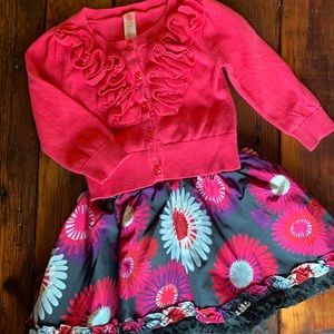 12 month cardigan & skirt outfit